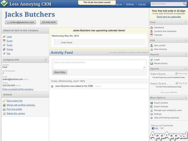 Less Annoying Crm Software Screenshot 1