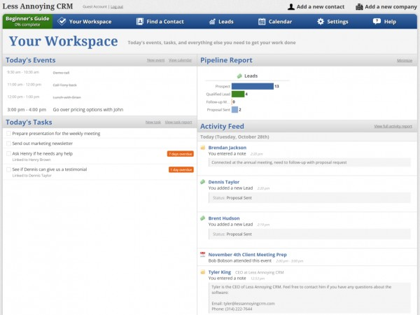 Less Annoying Crm Software Screenshot 3